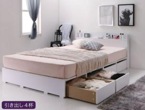 布団で寝れる 棚・コンセント付 おしゃれな引き出し収納ベッド X-Draw エックスドロウ スタンダードボンネルコイルマットレス付き 引き出し4杯 セミダブルサイズ