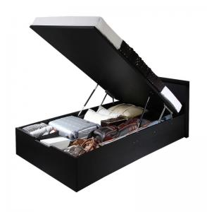 お客様組立 シンプルデザイン大容量収納跳ね上げ式ベッド Fermer フェルマー 薄型プレミアムボンネルコイルマットレス付き 縦開き セミダブルサイズ 深さラージ