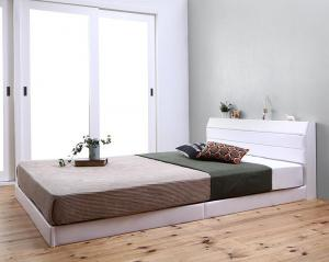 親子で寝られる棚・コンセント付きレザー連結ベッド Familiena ファミリーナ 国産ボンネルコイルマットレス付き ダブルサイズ