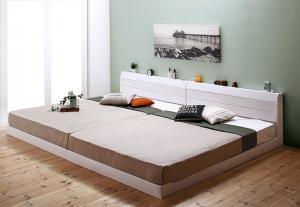 親子で寝られる棚・コンセント付きレザー連結ベッド Familiena ファミリーナ 国産ボンネルコイルマットレス付き ワイドK220