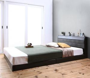 親子で寝られる棚・コンセント付きレザー連結ベッド Familiena ファミリーナ 国産ポケットコイルマットレス付き ダブルサイズ