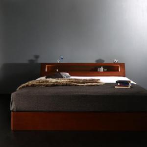 高級ウォルナット材ワイドサイズ収納ベッド Fenrir フェンリル ボンネルコイルマットレス付き スリムタイプ クイーンサイズ