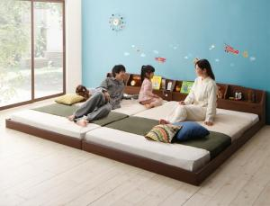 親子で寝られる収納棚・照明付き連結ベッド JointFamily ジョイント・ファミリー 天然ラテックス入り国産ポケットコイルマットレス付き クイーンサイズ(SS×2)