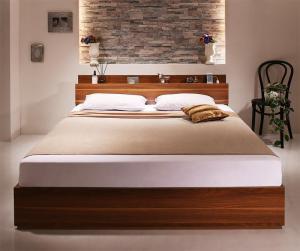 棚・コンセント付収納ベッド Irvine アーヴァイン スタンダードポケットコイルマットレス付き ダブルサイズ