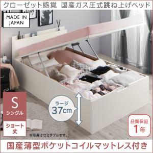 クローゼット感覚ガス圧式跳ね上げベッド aimable エマーブル 国産薄型ポケットコイルマットレス付き 縦開き シングル ショート丈 深さラージ(代引不可)