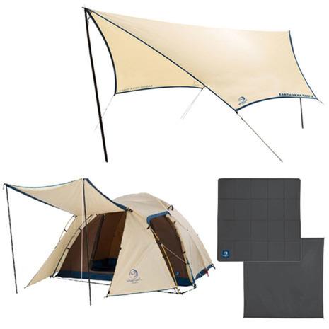 ホールアース(Whole Earth) ファミリーテント+マット+タープ3点セット (270テント) キャンプ用品 ドーム型テント (Men's、Lady's、Jr)