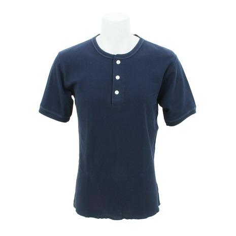 ヘルスニット(Healthknit) 【多少の傷汚れありの為大奉仕】ベーシック ワッフル ヘンリーネックtシャツ 半袖 601S-NAVY (メンズ)