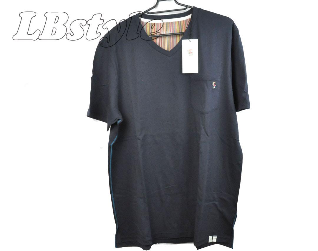 ポールスミス Tシャツ メンズ paulsmith Tシャツ Vネック paulsmith HOMEWEAR 綿100% M/L/LLサイズ チェスト88cm-112cm Tシャツ メンズ ポールスミス800-0415