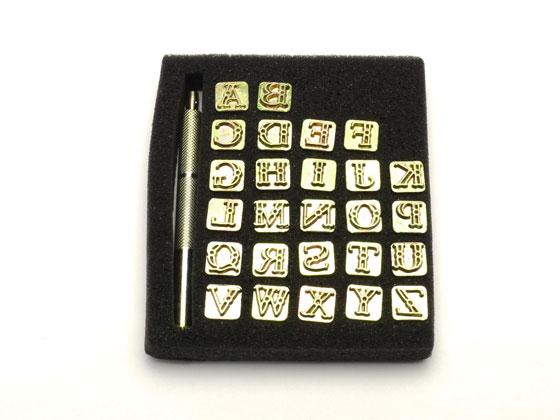 花式字母邮票 10 毫米 26 本书 [OPS 六角 El] 皮革工艺邮票字母和数字印迹