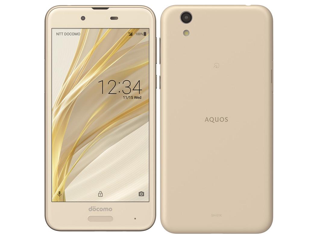 AQUOS sense SH-01K [Champagne Gold] SIMロック解除済 docomo 白ロム 2017年冬春モデル 5インチ