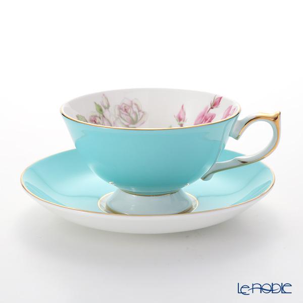 エインズレイ エリザベスローズ #3056 ティーカップ&ソーサー(アセンズ) ターコイズ 200ml おしゃれ かわいい 食器 ブランド 結婚祝い 内祝い