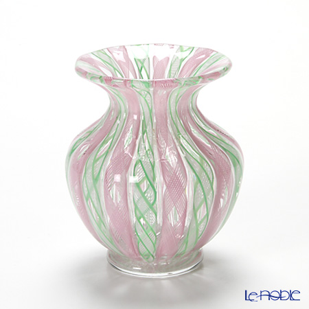 バラリン スモールベース(花瓶) 9cm #019 ピンク×グリーンレース【楽ギフ_包装選択】 フラワーベース おしゃれ ギフト