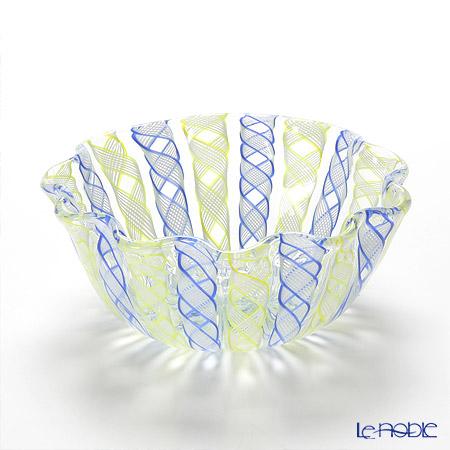 バラリン レース柄ボウル 14cm #052 ブルー×イエロー 食器 ブランド 結婚祝い 内祝い