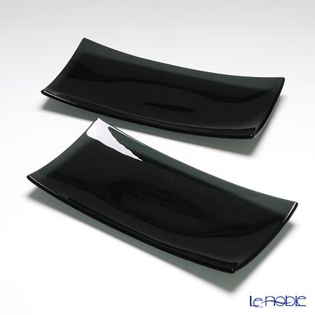 モダンボヘミア 長方形プレート 32×16cm ブラック ペア 皿 お皿 食器 ブランド 結婚祝い 内祝い