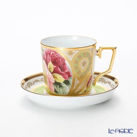 ノリタケ オマージュコレクション コーヒー碗皿(若草色絵薔薇文) T2402/H-770【楽ギフ_包装選択】 コーヒ―カップ 食器 おしゃれ ブランド