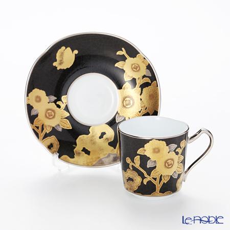 则武敬仰收集小咖啡杯碗盘子(黑绘画玫瑰花句子)T2404/H-767