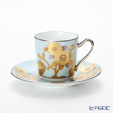 则武敬仰收集小咖啡杯碗盘子(淡青絵薔薇文)T2404/H-768礼物结婚祝贺家族庆贺