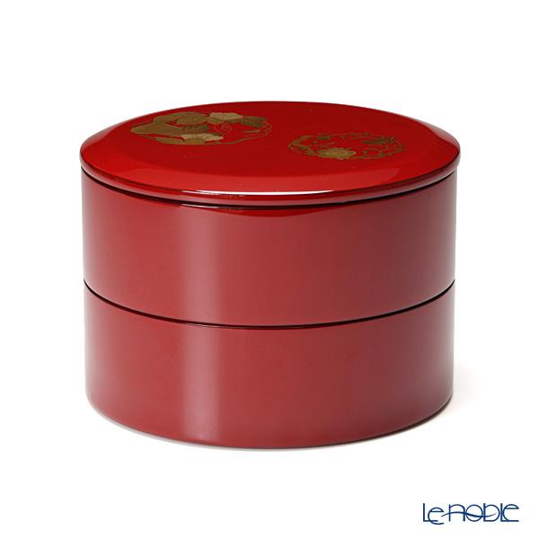【伝統工芸】輪島塗 花の丸蒔絵 丸重2段 赤【楽ギフ_包装選択】 プレート 皿 食器 おしゃれ ブランド