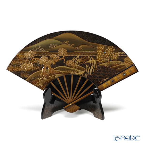 【伝統工芸】輪島塗 扇面型飾皿 山水 置物 オブジェ インテリア
