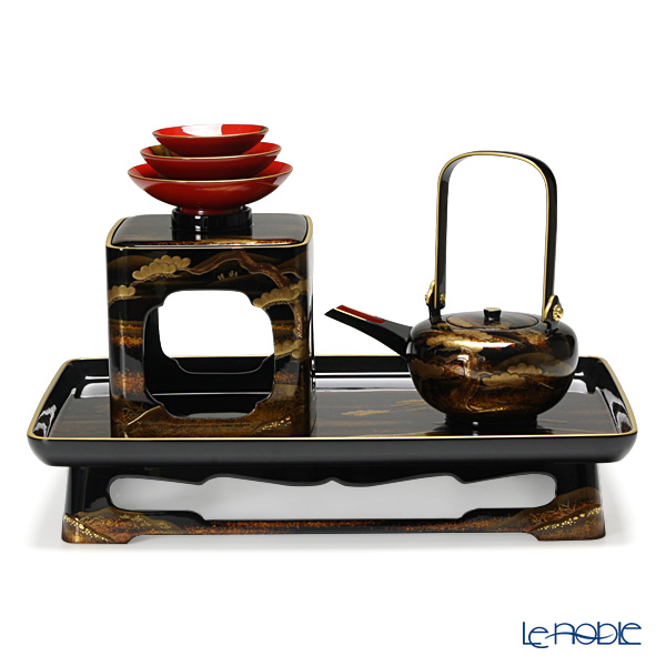 【伝統工芸】輪島塗 山水蒔絵 三ツ組 屠蘇(とそ)器【楽ギフ_包装選択】