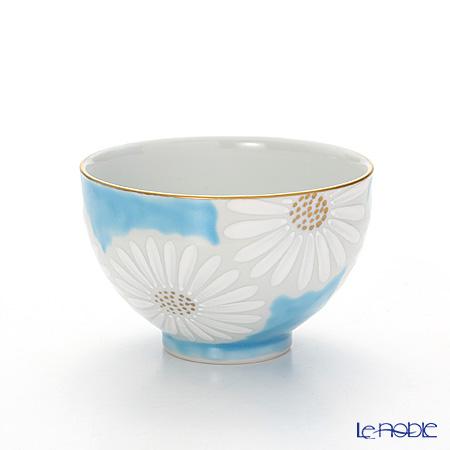 Le Noble White Chrysanthemum Blue Fabric K0332 Kyoto