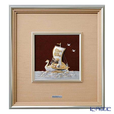 純銀額(Silver999) 8号 金属フレーム 宝船 44×41cm 金銀工芸家・伝統工芸士 武比古作