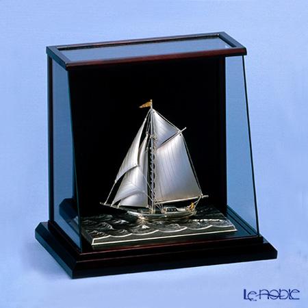 銀製置物(Silver985) 6号 スロープケース ヨット 1本マスト 金銀工芸家・伝統工芸士 武比古作 オブジェ インテリア