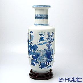 景徳鎮 青花博古圖棒槌瓶 D1-54 45.5cm 黄 雲鵬 作【楽ギフ_包装選択】 花瓶 おしゃれ フラワーベース