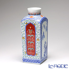 【伝統工芸】古琳庵窯 間取山水 角花瓶【楽ギフ_包装選択】 フラワーベース おしゃれ ギフト