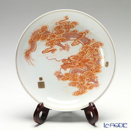 景徳鎮 礬紅描金雲龍紋盤 D0-04 21.5cm 黄 雲鵬 作