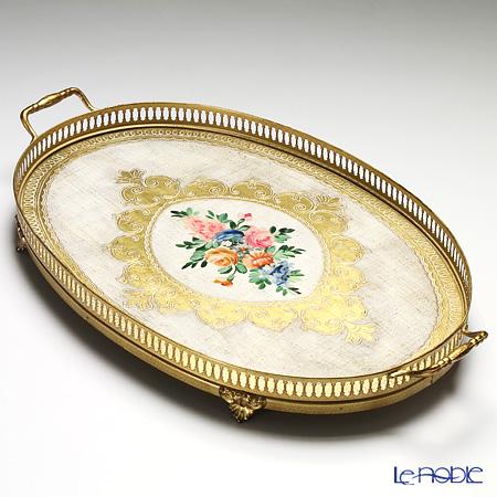 フィレンツェ トレイ オーバル 32×52cm フラワー ホワイト/ゴールド 99127-1F【楽ギフ_包装選択】