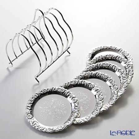 キッチン ブランド品 ふるさと割 用品 雑貨 調理 クイーン アン QUEEN ANNE ラック付 5896 2 コースター 6枚セット 0 イギリス製銀メッキ 9.5cm