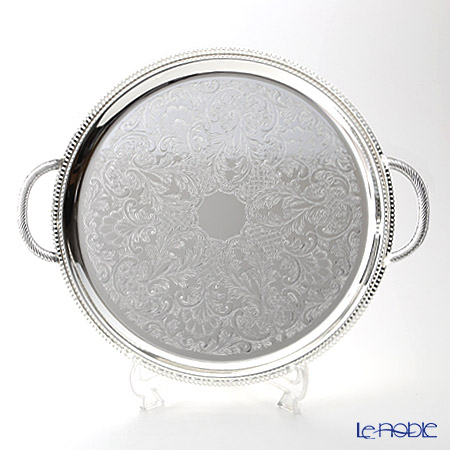 Queen Anne Silver Plated Made In England Gallery Round Tray With Handles 35 Cm 0 6392 Marriage Celebration 内 祝 I Favors Gift Gifts