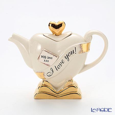 ティーポッタリー Teapottery ハート(ホワイト×ゴールド) S【楽ギフ_包装選択】