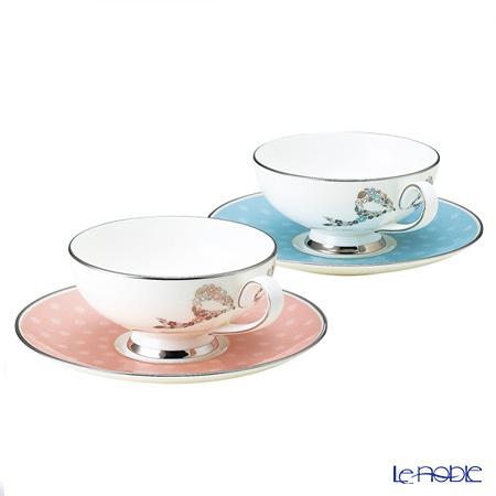 Narumi felicito! Tea bowls plates pair blue & pink 95586-21047
