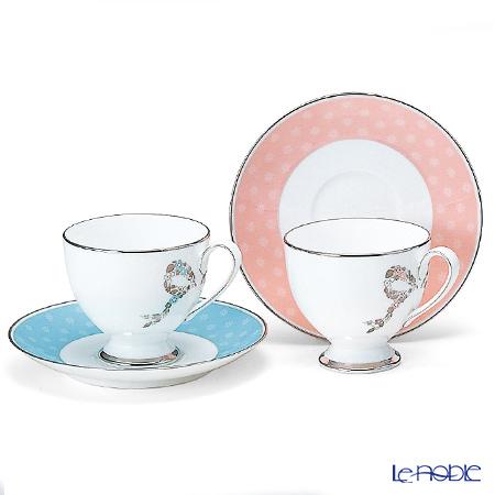 ナルミ フェリシータ! コーヒー碗皿ペア ブルー&ピンク 95586-20861 コーヒ―カップ おしゃれ かわいい 食器 ブランド 結婚祝い 内祝い