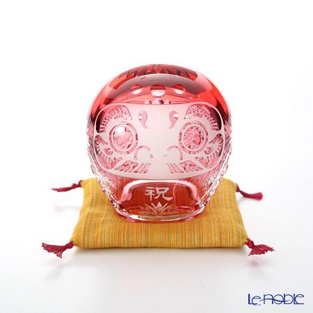 カガミクリスタル 祝だるま(小) 10cm Q338-2303CAU 座布団付【楽ギフ_包装選択】 置物 オブジェ インテリア