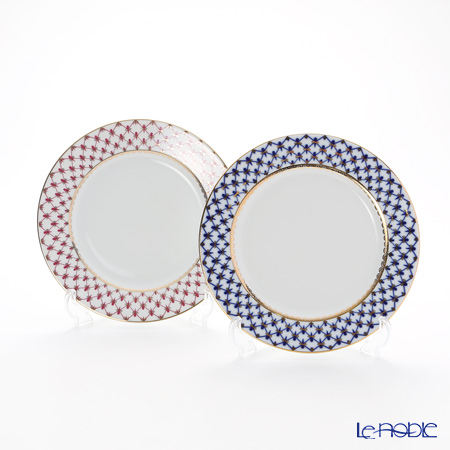 Russian tableware Imperial porcelain cobalt net u0026 blues (pink net) plate 21.5cm pair  sc 1 st  Rakuten & le-noble | Rakuten Global Market: Russian tableware Imperial ...