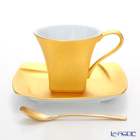 コーヒ―カップ おしゃれ かわいい 食器 ブランド 結婚祝い 内祝い 箔一 無垢 スクエア コーヒーカップ&ソーサー(スプーン付) A161-03018 コーヒ―カップ おしゃれ かわいい 食器 ブランド 結婚祝い 内祝い