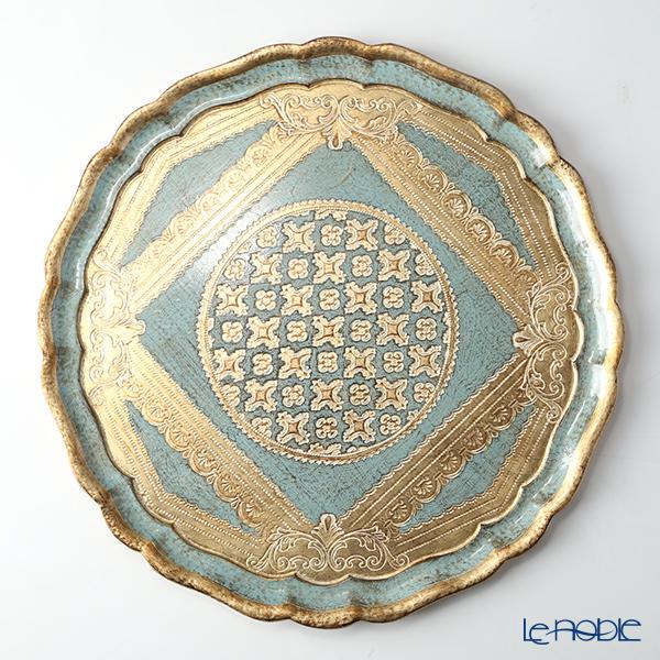 フィレンツェトレイ ラウンド 38.5cm ターコイズ【楽ギフ_包装選択】