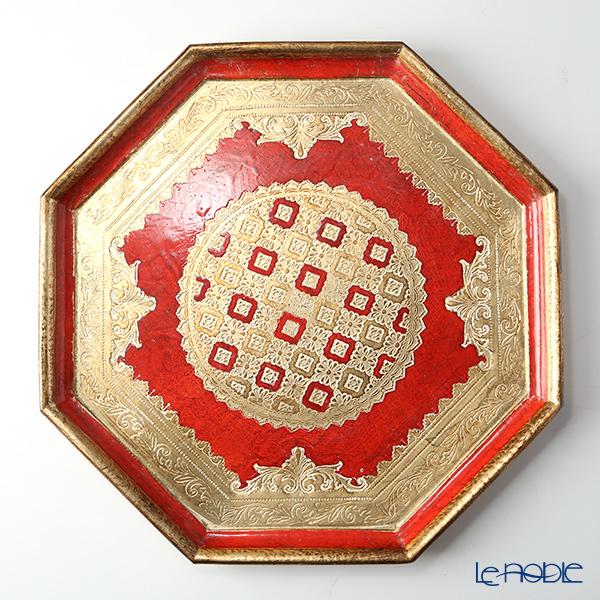 フィレンツェトレイ オクタゴナル 37cm レッド/ゴールド LP231/3【楽ギフ_包装選択】