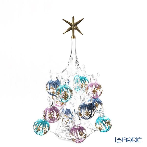 パリーゼ クリスマスツリー M H22cm NN/4/1(286) 紫&ターコイズ【楽ギフ_包装選択】 ガラス おしゃれ 置物 オブジェ インテリア