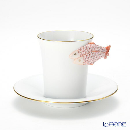 ヘレンド(HEREND) QH-NH3 04913-0-00 モカカップ&ソーサー(フィッシュ、レッド)【楽ギフ_包装選択】 ティーカップ コーヒーカップ カップアンドソーサー 引き出物 結婚祝い 食器