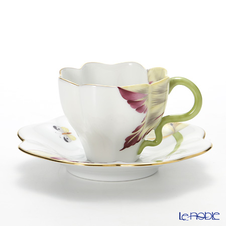 ヘレンド(HEREND) チューリップ TULIP-2 04746-0-00 ティーカップ&ソーサー ワインレッド おしゃれ かわいい 食器 ブランド 結婚祝い 内祝い