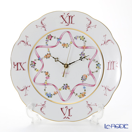 ヘレンド(HEREND) フラワーリボン ピンク 20527047 ウォールクロック 28cm フラワーリボン(FLR) 時計 壁掛け 壁掛け時計 おしゃれ