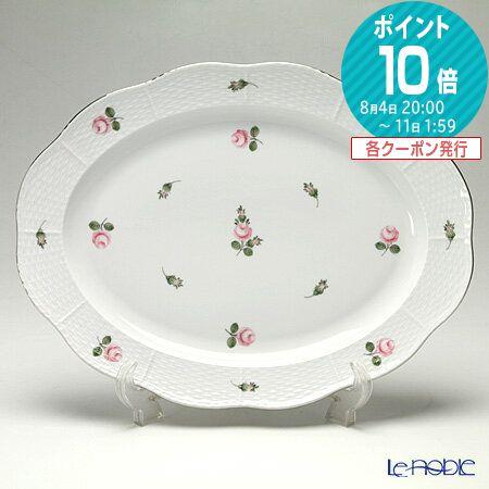 ヘレンド(HEREND) ウィーンのバラ プラチナ 00102-0-00 オーバルプラター 36cm【楽ギフ_包装選択】 プレート 皿 食器 おしゃれ ブランド