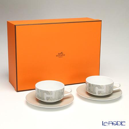 エルメス (HERMES) ラリー 24 ティーカップ&ソーサー 150ml グレー ペア 【ブランドボックス付】 おしゃれ かわいい 食器 結婚祝い 内祝い