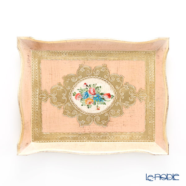 フィレンツェ トレイ 長方形 フラワー ピンク ゴールド 28×36cm 94146 キッチン 用品 雑貨 調理