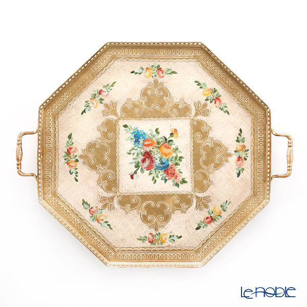 フィレンツェ トレイ オクタゴナル フラワー ホワイトゴールド 47×40cm 調理 送料込 贈物 キッチン 雑貨 用品 99139
