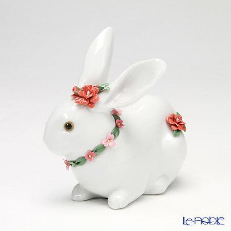 リヤドロ 花飾りの白ウサギ2(カーネーション) 07578【楽ギフ_包装選択】 リアドロ 記念品 ギフト 置物 オブジェ フィギュリン インテリア
